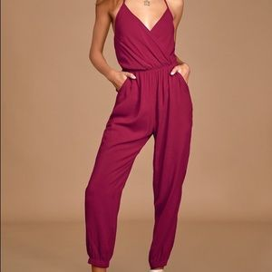 Lulu's Learning to Fly jumpsuit burgundy